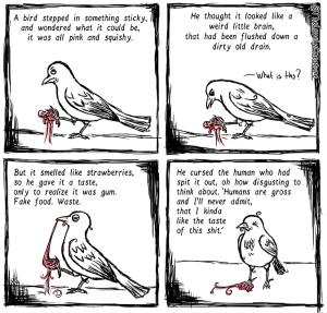 Bird-step-gum-gross-lovely-creature-comic