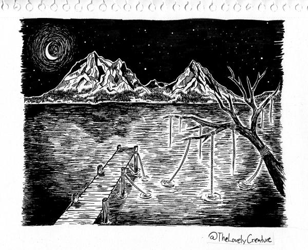 illustration af bjerge reflekteret i en sø om natten