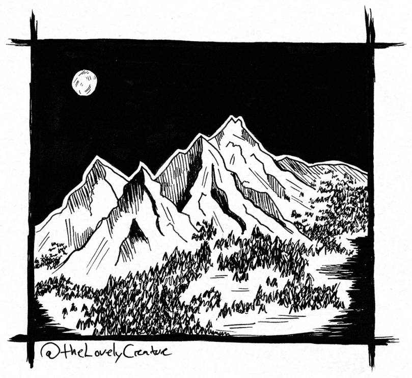 fuldmåne over bjerge illustration tegning