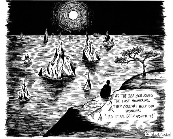 oversvømmede bjerge illustration tegneserie