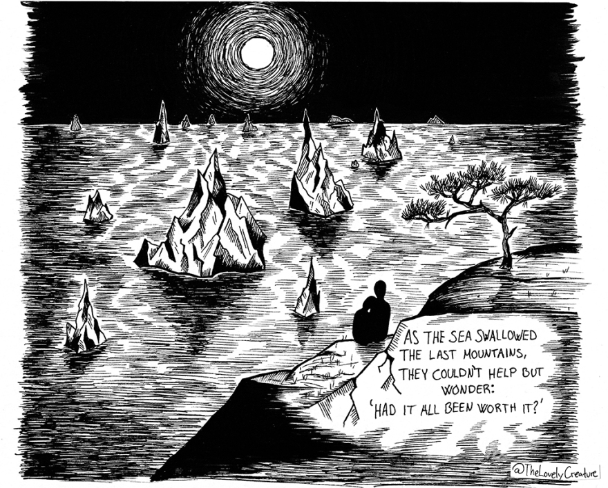 The end of the world, illustrated as a flooded mountains-cape.