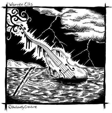 drawing of a violin sticking out of the ocean