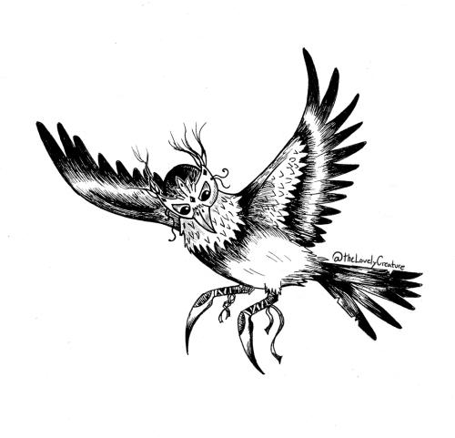 tegning af en fugl med maske og sko på