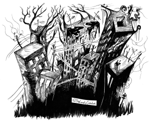 drawing of surreal big city, urban decay and crumbling buildings.