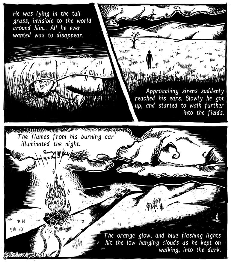 escapism-car-crash-illustration-comic-night-burning