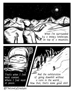 skiing down hill comic