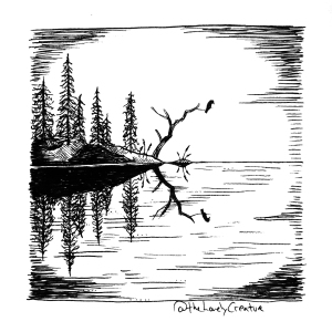 lille tegning af ø i en sø
