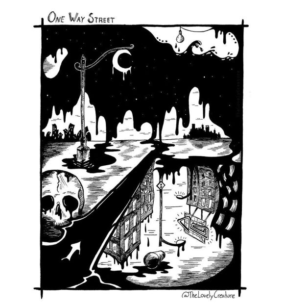 surreal illustration of the song One Way Street by Mark Lanegan