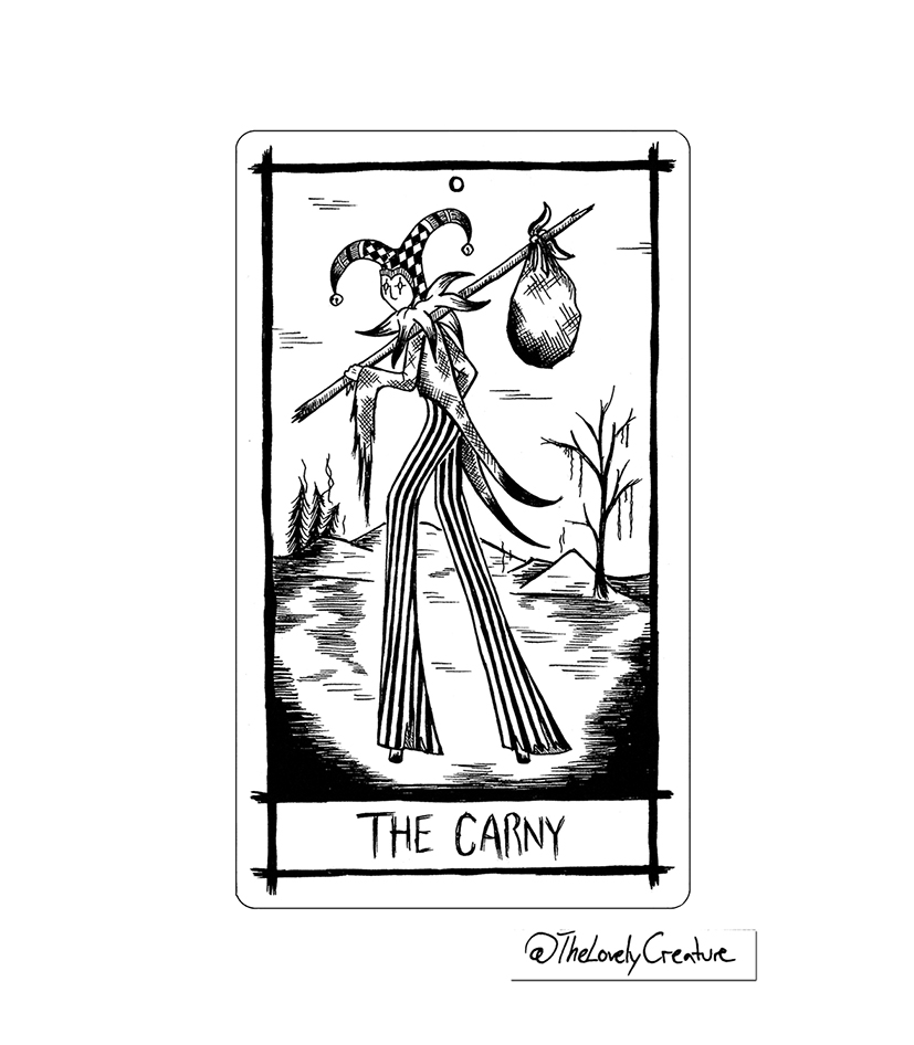 Nick Cave songs reimagined and illustrated as tarot cards. Here the song The Carny is interpreted as The Fool.