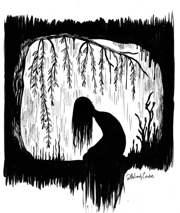 tegning af kvinde silhuet i mørk uhyggelig skov