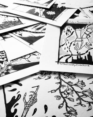 inktober drawings in pile