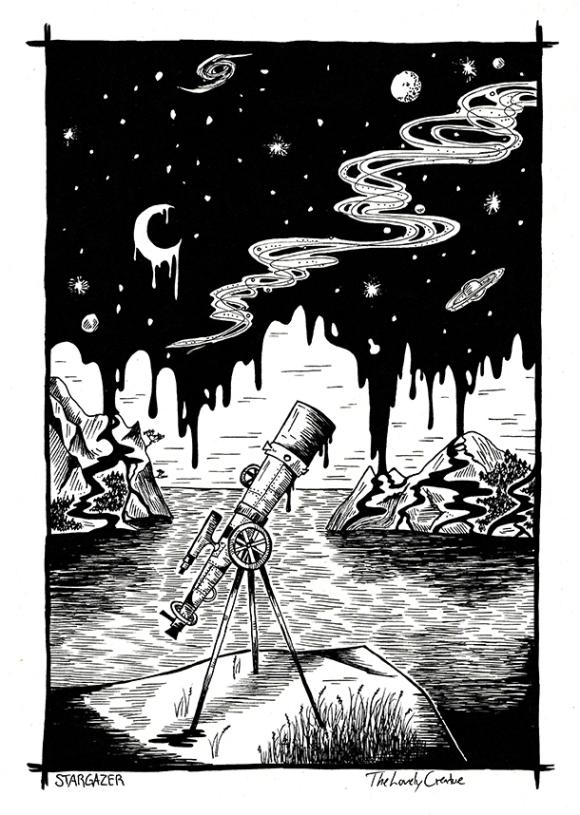 surreal illustration of telescope and liquid night sky