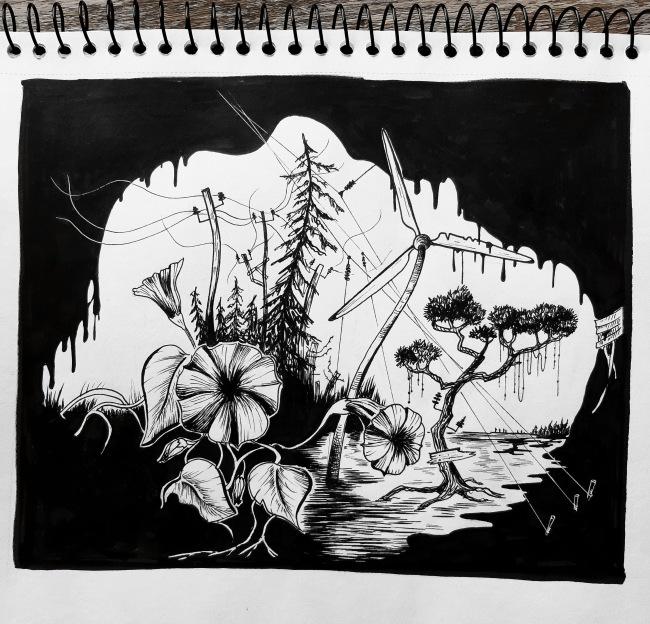 surreal nature doodle